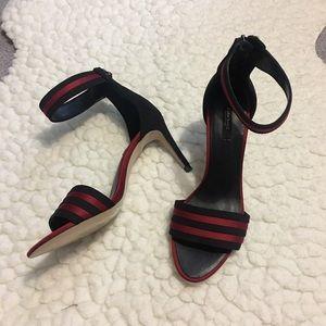 Zara Red/Black Stripe Heels